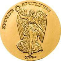 """RARE Республика Того 1000 франков 2004г. """"Богиня Ника"""". Выпуклая. Монета в капсуле. ЗОЛОТО 1,24гр."""