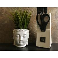 Цветочный горшок, кашпо, органайзер голова Будды белая