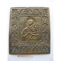 Икона бронзовая Девы Марии с младенцем Иисусом. 115 х 135 х 3,5 мм