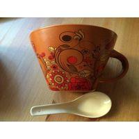 Супер чашка пиала,для бульона, для чая, для каш. Вместе с ложкой. Я такую использую на работе, очень нравится. 450 мл. Вторая мне не нужна. Высота 8 см, диаметр 13,5 см.
