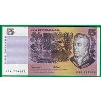 Австралия 5 долларов образца 1973 года. Вариант подписей 2. Состояние UNC. Нечастая!
