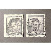 Чили\55м\1948 филгеография штемпель San Fernando и Santiago \ми360Х вз\