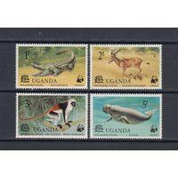 Крокодилы Обезьяны Фауна WWF 1977 Уганда MNH серия 4 м зуб лот РАСПРОДАЖА