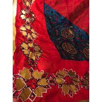Палантин шаль парэо восточная ришелье винтаж 90 см х 220 см цвет красный и морской волны