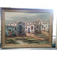 Старинная картина маслом на холсте Позолоченная рамка 56x43 C Рубля!