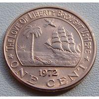 "Либерия. 1 цент 1972 год KM#13 ""Слон"""