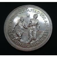 Остров Мэн 1 крона. 1984г. Олимпийские игры в Лос-Анжелесе. Бегуны.