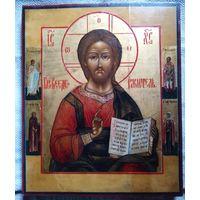 Икона Спас предстоящие Сергий, Ирина, Фёдор.