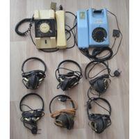 Лот из СССР.2 дисковых телефона+6 наушников