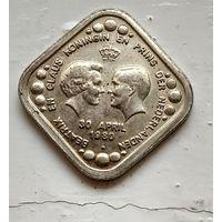 Нидерланды 5 центов, 1980 Беатрикс и Клаус - Королева и Принц Нидерландов /портреты лицом друг к другу/  4-1-5