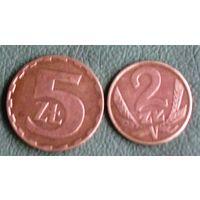 5 злотых 1980 + 2 злотых 1979 Польша