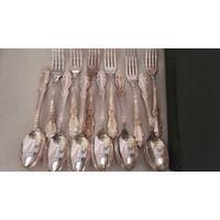 Набор ложек и вилок. 12 шт. мельхиор, серебрение