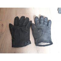 Мужские теплые перчатки, кожаные.