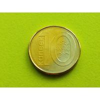 Республика Беларусь (РБ). 10 копеек 2009. Брак гальванопокрытия (цвет, двухцветная) + раскол.