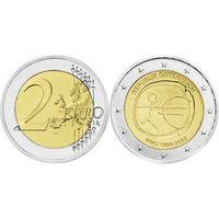 2 евро 2009 Австрия 10 лет монетарной политики ЕС UNC из ролла