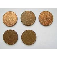 5 евроцентов Германия 2002 G, 2002 F, 2004 D, 2005 F, 2014 F.