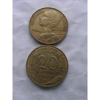 Франция 20 сантим 1984г  распродажа