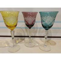 Трио из цветного хрусталя, бокалы, Германия,19,5 см, состояние !!!