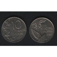 Финляндия km65 10 пенни 1990 год (M) (новый тип) CuNi цветы (h01)