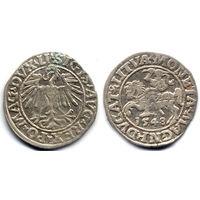 Полугрош 1548, Жигимонт Август, Вильно. Арабская единица в начале даты. Остатки штемпельного блеска, коллекционное состояние