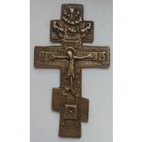 Старинный бронзовый крест, напрестольный, распятие, 11 см., отличный!