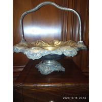 Старинная ваза,чаша. 19 век.Золочение накладное серебро .Клеймо Варшава фражет.