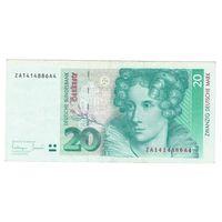 Германия ФРГ 20 марок 1993 года. Замещенная серия ZA. Более редкий вариант! Большой номинал!
