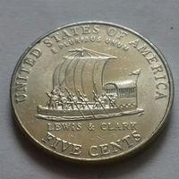 5 центов, США 2004 P, экспедиция Льюиса и Кларка, лодка