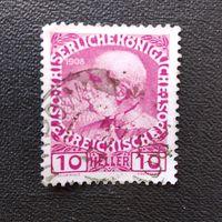 Марка Австрия 1908 год Император Франц Иосиф I
