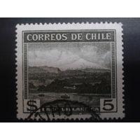 Чили 1938 кораблики на реке, черно-серая