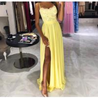 Шикарное желтое платье в пол с кружевом