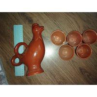 Графин петушок + 5 стаканов керамика