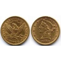5 долларов 1907, США, Филадельфия. Коллекционное состояние