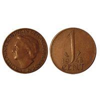 1 цент 1948 Нидерланды королева Вильгельмина, отличные!