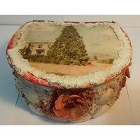 Коробочка,шкатулка для разной мелочи, декор морскими раковинами,Евпатория,СССР