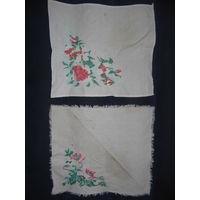 Старая салфетка-вышивка вышиванка, 2 штуки, цена за обе