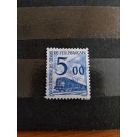 1960 Франция марка оплаты пересылки посылок (пакетов) по железной дороге поезд паровоз Ивер 45 оценка 2 евро (2-15)