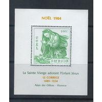 Искусство Ле Кореджио (Музей Дворца города  Флоренции) Рождество 1984 год Руанда - 6,5 Михель-евро(блок-одиночка- серия не надо)