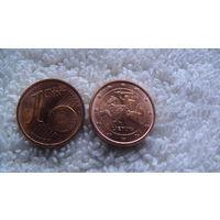 Литва 1 евроцент 2015г. распродажа