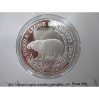 Сьерра-Леоне. 10 леоне 1987 Всемирный фонд дикой природы (бегемот-карлик), серебро, Пруф,   .Р.4