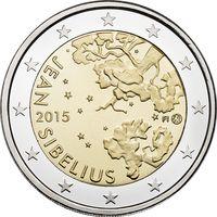 2 евро 2015 Финляндия 150 лет со дня рождения Яна Сибелиуса UNC из ролла