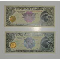 Фантастический выпуск. 2 и 3 Доллара CHATHAM ISLANDS (Питкэрн и Токелау)