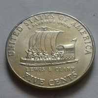 5 центов, США 2004 P D, экспедиция Льюиса и Кларка, лодка