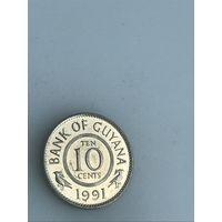 10 центов 1991 г., Гайана