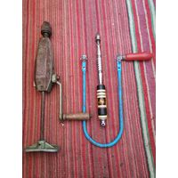 Лот инструментов СССР, дрель ручная, отвес-измеритель, лобзик - все предметы в рабочем состоянии.