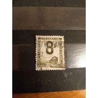 1944 Франция марка оплаты пересылки посылок (пакетов) по железной дороге поезд паровоз Ивер 8 (3-5)