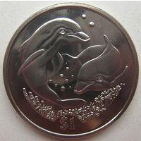 Британские Виргинские острова 1 доллар 2006 г. Дельфины