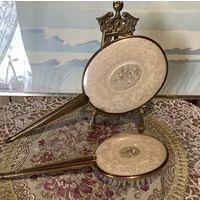 Набор Зеркало и Расческа старинный Кружево Латунь Англия