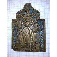 Икона из складня Николай Можайский  Бронза Эмаль