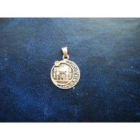 Исламский медальон с Мечетью и изречением из Корана. 925 голова в кокошнике.
